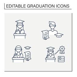 Graduation line icons set. Professional development. Academic career, undergraduate student, graduation speech, ceremony. Studying concept. Isolated vector illustrations.Editable stroke
