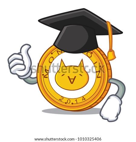 Graduation Monacoin character cartoon style