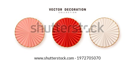 Graduation paper party fans. Set of realistic Red and White pink realistic 3d decor, new year eve holiday, nye decorative object isolated on white background. Vector illustration