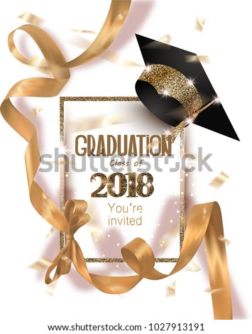 Graduation 2018 party invitation card with hat and long gold silk ribbon and confetti. Vector illustration
