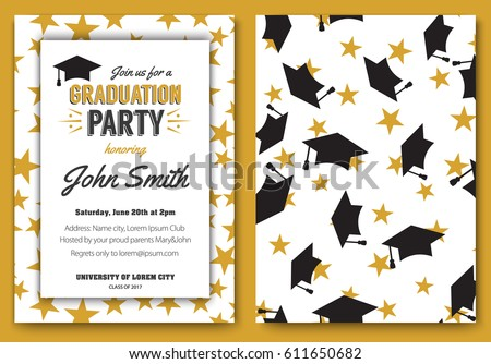 Graduation party vector template invitation to the traditional ceremony, college, university or high school student party, graduation caps thrown in the air with elegant star design