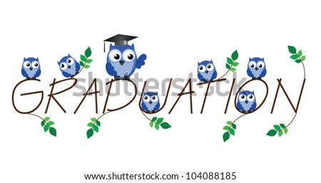 Graduation twig text isolated on white background