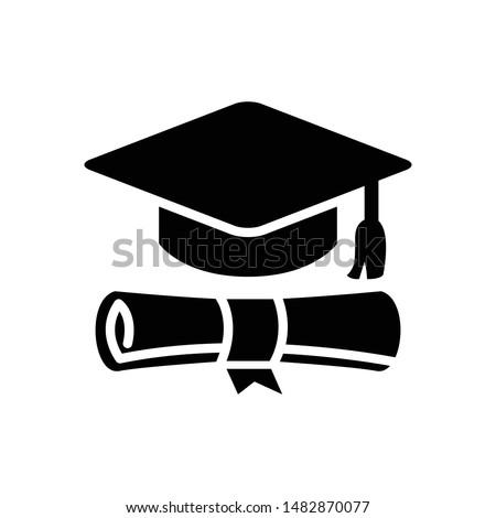 Graduation vector graphics solid icon in black color