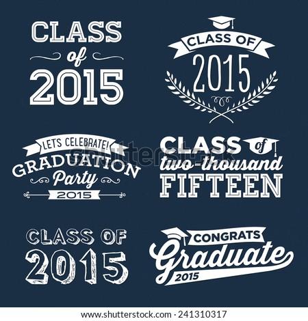 Graduation Vector Set | Let's Celebrate, Class of 2015, Congrats Grad, College Graduation, High School Graduation, Congratulations Graduate