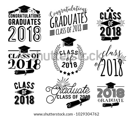 Graduation wishes monochrome overlays, lettering labels design set. Retro graduate class of 2018 badges. Hand drawn emblem with sunburst, hat, diploma, bell. Isolated. Sign or logo