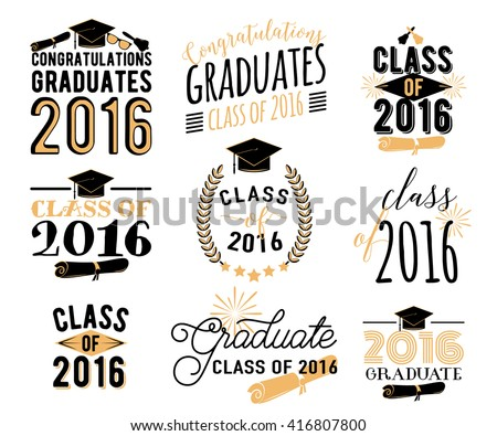 Graduation wishes overlays, lettering labels design set. Retro graduate class of 2016 graduation badges. Hand drawn emblem with sunburst, hat, diploma, bell. Isolated. Graduates logos for web, print.