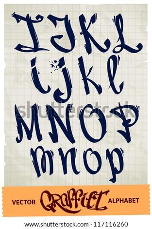 Graffiti alphabet. Vector EPS 10 illustration.