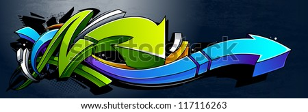Graffiti background. Horizontal graffiti banner. Vector EPS 10 illustration.