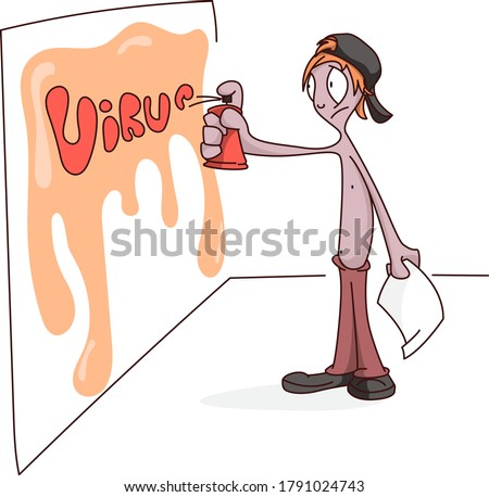 graffiti boy drawing word virus on the wall stock photo
