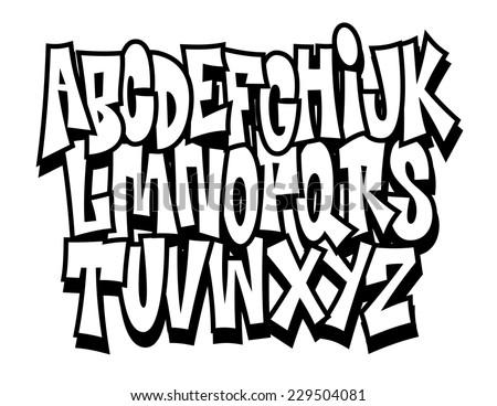 Hand written graffiti font alphabet … Stock Photo 196114871