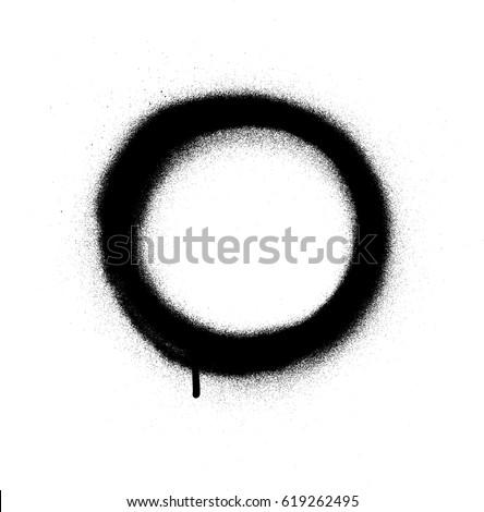 graffiti circle spray design element in black on white