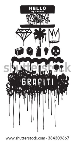Graffiti elements, symbols, hip-hop culture and street style. Set of black white icons