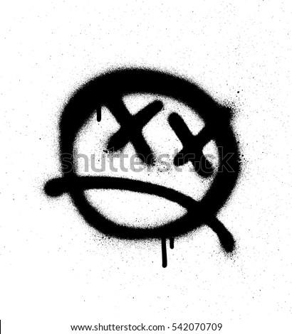 graffiti emoticon face sprayed
