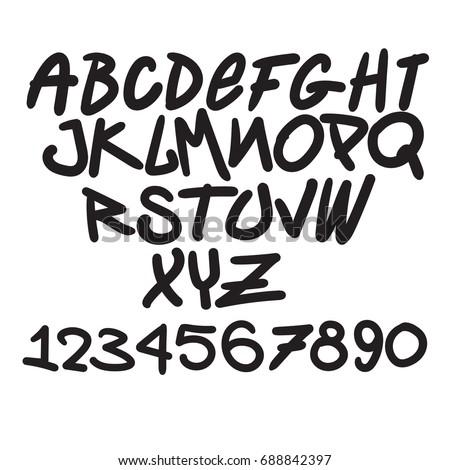 graffiti font  alphabet digits
