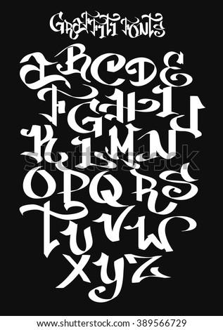 graffiti font alphabet vector