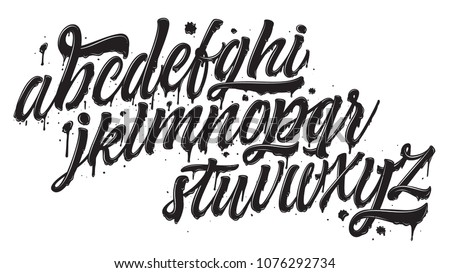 Graffiti font isolated on white bckground. Brush pen comic lettering typeface. Black ink alphabet with glossy. Vector typography.