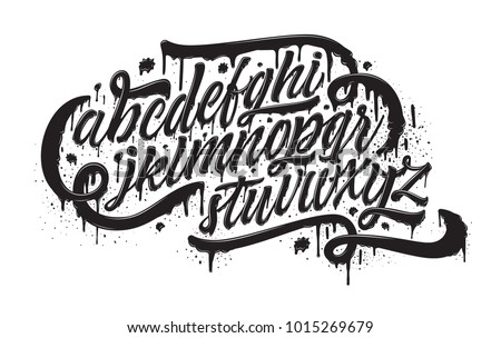 Graffiti font. Spray paint effect alphabet isolated on white. Hand drawn typeface with realistic grunge effect for a logo, cards, invitations, posters, banners. Vector illustration.
