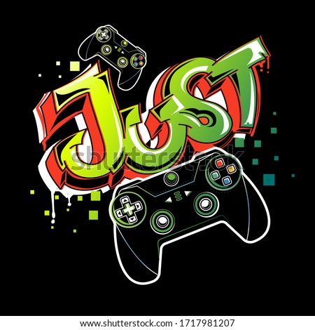 Graffiti gamepad illustration. Cartoon joystick sign. Gamer elements for boy t shirt design