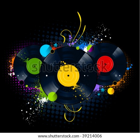 Graffiti image with vinyl disc on  black background. Vector illustration.