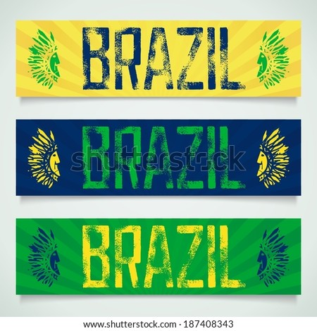 Graffiti inscription - Brazil, worn and textured with two profiles Indians. Vector eps 10