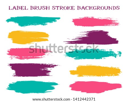Graffiti label brush stroke backgrounds, paint or ink smudges vector for tags and stamps design. Painted label backgrounds patch. Interior colors scheme samples. Ink dabs, yellow pink teal splashes.
