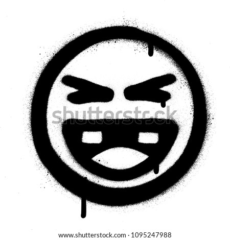 graffiti laughing icon face in black over white