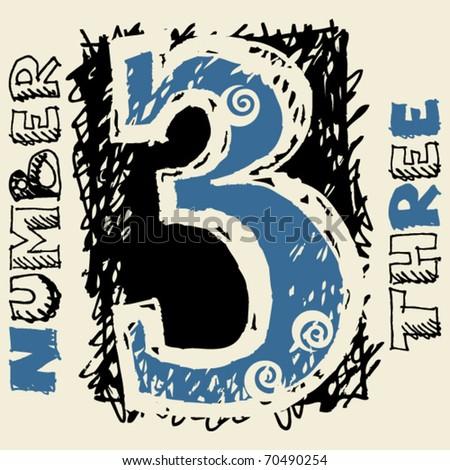 graffiti numerals, doodle number three