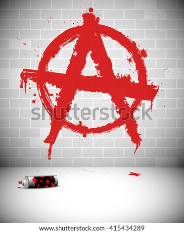 graffiti on brick wall   red