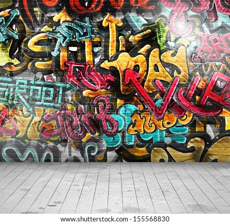Graffiti on wall.Illustration contains transparency and blending effects, eps 10