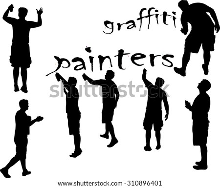 graffiti painters b w vector