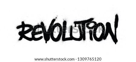 graffiti revolution word sprayed in black over white