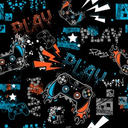 Graffiti seamless pattern with joystick sign.  Gamer elements for boy t shirt design. Repeat print with gamepad sign, fire track, lightning, stars, squares.