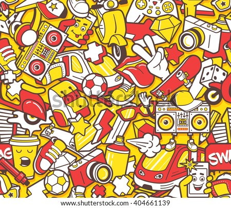 Shutterstock Graffiti seamless pattern with urban lifestyle line icons. Crazy doodle abstract vector background. Trendy linear style collage with bizarre street art elements.