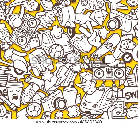 graffiti seamless pattern with