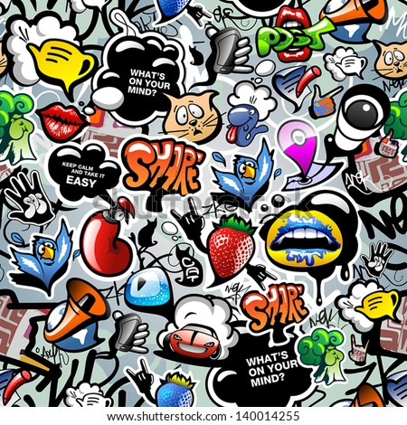 Shutterstock Graffiti seamless texture with social media signs and other shiny icons. Vector