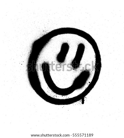 Shutterstock graffiti smiling face emoticon in black on white