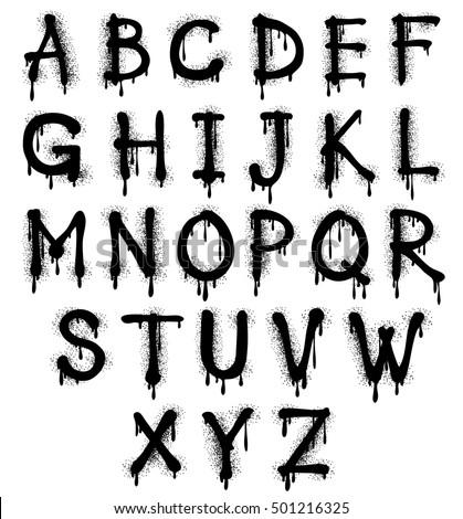 graffiti splash vector alphabet