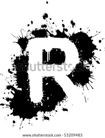 letter r graffiti style. stock vector : Graffiti