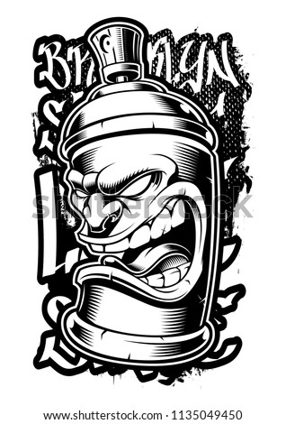 Graffiti spray can. Vector illustration of street art on dark background.