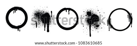 Graffiti Spray Design Elements in Black isolated on White Background. Blot and Round. Vector Illustration.