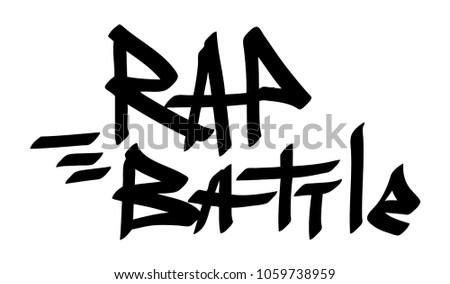 Graffiti tag inscription rap battle on a white background. Vector art.