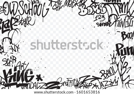 Graffiti tags border isolated on transparent background. Abstract street art decoration. Graffiti hand drawing texture. Element for banner, t-shirt design, textile, wrapping paper. Vector illustration