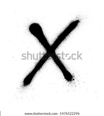 graffiti thin X font sprayed in black over white