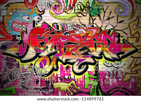 Graffiti wall background. Urban art grafitti vector design