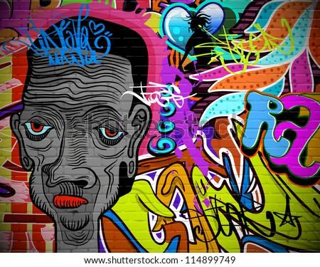 Graffiti wall urban art background. Grunge hip hop artistic design