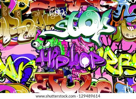 graffiti wall urban art vector