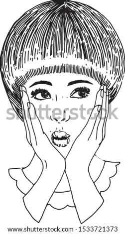 Grafika liniowa twarzy kobiety mody. Modna fryzura. Zdjęcia stock ©