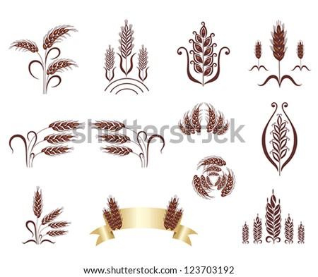 Grain ears. Design elements.