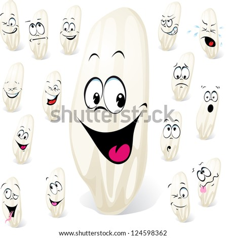 grain of rice cartoon with many expressions isolated on white background - stock vector