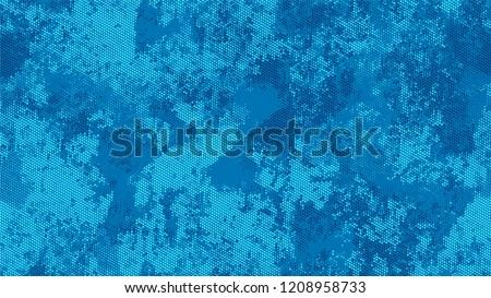 Grainy Distress Grunge Brush Texture. Cartoon Cracked Noisy Surface Pattern Design. Polka Dots Style Texture. Blue Noise Fashion Print Design Background. #1208958733